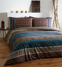 Ethnic Indien Style Fusion Teal Chocolate Brown & Gold SuperKing Size Duvet Set