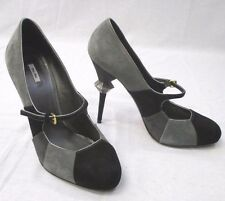 MIU MIU Suede Heels in Grays & Black w/Silver Accent at Heels Size 38- Like New