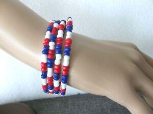 Patriotic Memory Wrap Bracelet  - Red, White & Blue  Glass  Beads