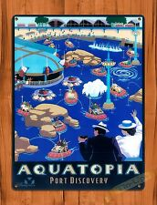 "TIN-UPS Walt Disney Tin Sign ""Aquatopia"" Port Discovery Vintage Art Ride Poster"