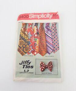 Vintage Men's Wide Tie Bow Tie Sewing Pattern Simplicity 9400 Used 1960s 1970s