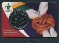 2008 Australia Centenary of Scouts Australia 50c Uncirculated Coin on card