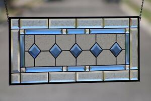 """Cobalt Blue-Beveled Stained Glass Window Panel- Hanging ≈28 5/8"""" x 12 1/2"""""""