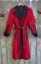 Handmade Vintage Red and Black Wool Coat Women's Medium M 100% Quilt Embroidered
