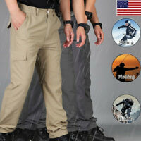 Men Waterproof Quick Dry Hiking Pants Outdoor Tactical Climbing Cargo Trousers O