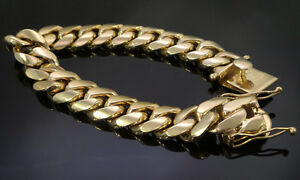 Men's Yellow Gold 316 Stainless Steel Hip Hop Heavy Miami Cuban Link Bracelet