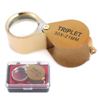 30X 21mm Jewelers Magnifier Gold Eye Loupe Jewelry Magnifying Glass Fad UK JA#