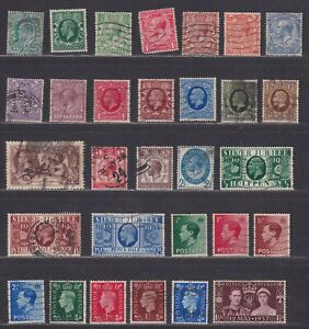 Great Britain Four Kings Issues 1902-1937 28 Different Stamps SCV $57.60