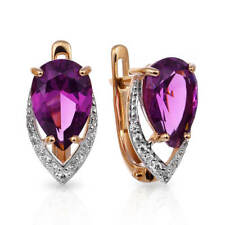 Earrings NEW Russian Solid Rose Gold 14K 585 fine jewelry purple amethyst 2.71g