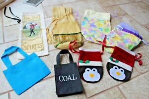 Lot of 8 Cloth All Occasion Gift Bags Wine birthday Coal penguin butterflies