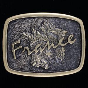 Vtg France French Travel Paris Europe European Brass New Nos 1970s Belt Buckle
