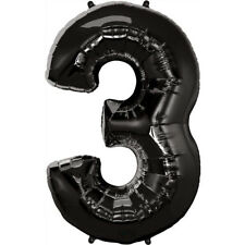 """40"""" Giant Black Three Year Old Baby First Birthday 3 Month Number Float Balloon"""