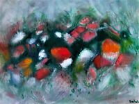 """Original abstract oil painting, signed, by Nalan Laluk: """"Bouquet"""""""