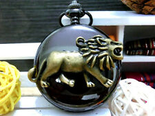 Antique Bronze King's Lion charm bright black steampunk pocket watch necklace.