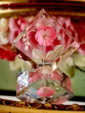 More details for reversed carved lucite pink rose flower 3d ornament small paperweight lovely