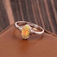 Natural Ethiopian Opal Solid 925 Sterling Silver Handmade Ring Size - 7.5 R-554