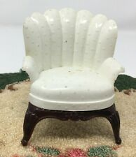 Renwal Dollhouse Miniature White Textured Wing Chair # 77 Vintage Furniture