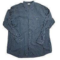 Lacoste Mens Size 44 Vertical Striped Button Down Dress Shirt Multicolor Black