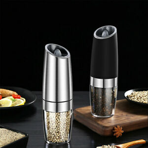 Single/Double Pack Electric Salt Pepper Grinders Mill Shakers Stainless Steel