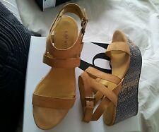$ 149.00 NINE WEST brand new cream sand Leather sandals platform size 8 M