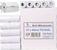 More details for 100 rolls 57x40 thermal rolls credit card machine receipt paper till roll
