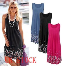 Women's Boho Floral Sleeveless Sundress Ladies Summer Beach Evening Party Dress