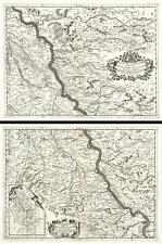 1690 Coronelli Map of the Rhine River Between Wesel and Koblenz, Germany