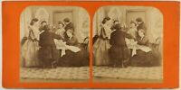 Il Diner Scena Da Genere Second Empire Parigi Foto Stereo c1865 Vintage Albumina