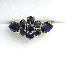 14k Solid Yellow Gold Cluster Flower Band Ring, Natural Sapphire 2.0TCW, Sz 8.