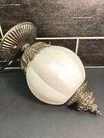 VTG MCM  Regency White Frosted Ribbed Globe Ceiling Mount Light Ornate