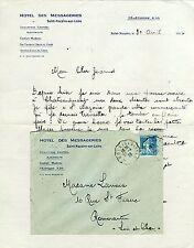 Dépt 44 - St-Nazaire - Lettre + Enveloppe à Entête Hotel des Messageries de 1926