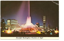 CHICAGO IL Buckingham Fountain Night View Postcard