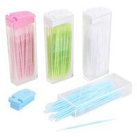 Brosse interdentaire à cure-dents buccale 2 voies, rose portable