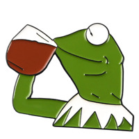 Pin cartoon kermit the frog pin drinking whith enamel brooch jewelry Gift