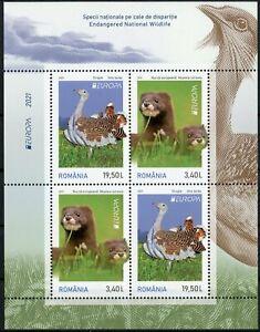 Romania Europa Stamps 2021 MNH Endangered Natl Wildlife Minks Birds 4v M/S II