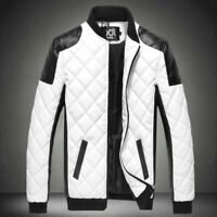 Men's Leather Jacket Motorcycle Slim Warm Zipper Biker Coat Outwear Tops Leisure