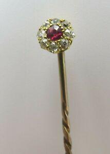 Vintage Diamond and Ruby Set Gold Stick Pin
