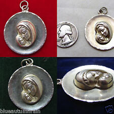 """† HUGE STERLING DEATAILED MARY WITH BABY JESUS MEDAL PENDANT 1 1/2"""" 14.95 GRS †"""