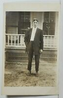 Rppc Handsome Young Man c1910 Outside of Porch Photo Postcard N15