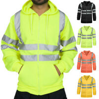 Men's M-3XL High Visibility Jacket Hoodie Work Zip Hooded Sweat Shirt Safety 1x