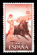 "Bullfighting Spain Stamp Poster #14 Canvas Art Poster 16""x 24"""