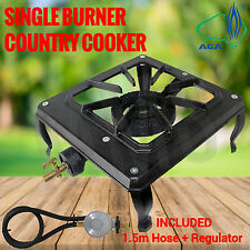 Ignite Single Burner Country Cooker Cast Iron LPG Camping Gas Stove 1.5m Hose