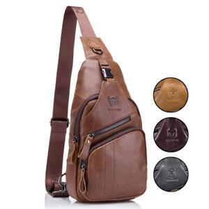 Mens Vintage Genuine Leather Satchel Shoulder Sling Crossbody Chest Bag Travel
