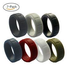 7pcs Silicone Wedding Ring for Men Rubber Wedding Bands Athletes Fitness Workout