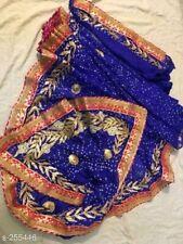 Rajasthani Bandhani Silk Bandhej Saree Gota Patti Border Partywear Wedding Sari
