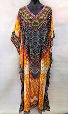 Bright Long Sheer Embellished Kaftan Tunic Digital Printed Size16-18-20-22-24-26