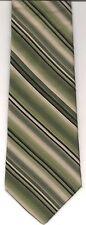 Tie MH, Olive Arrow DIAGONAL STRIPE Black Beige Dark Green SILK USA