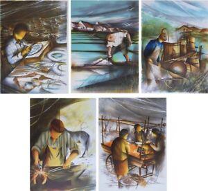 POULET Raymond : Les métiers anciens - 5 LITHOGRAPHIES signées #450ex