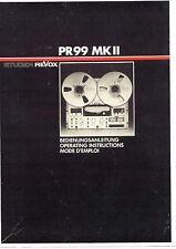 Revox Bedienungsanleitung user manual operator´s manual für PR 99 MKII in deutsc