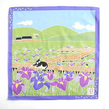 Iris with Cat Japanese Cotton Furoshiki Wrapping Cloth TB67
